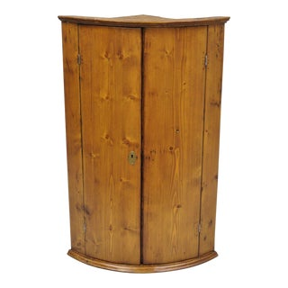 19th Century Antique Pine Wood Wall Hanging Corner Cabinet For Sale