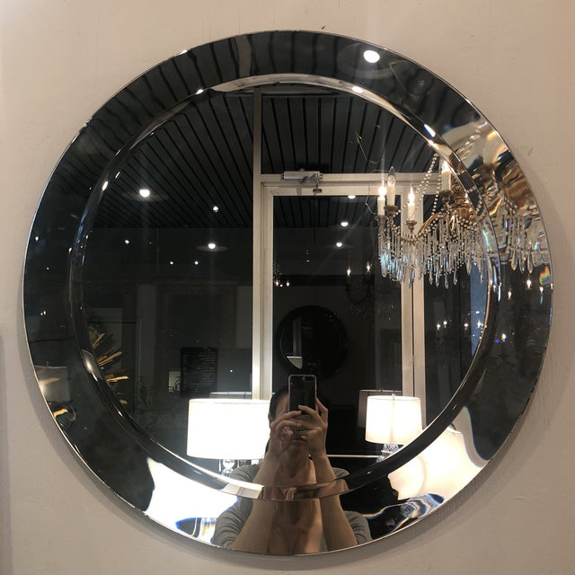 Glass Large Round Vintage Italian Mirror For Sale - Image 7 of 8