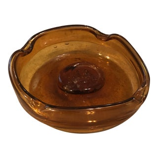 Hand Blown Pressed Amber Glass Ashtray For Sale