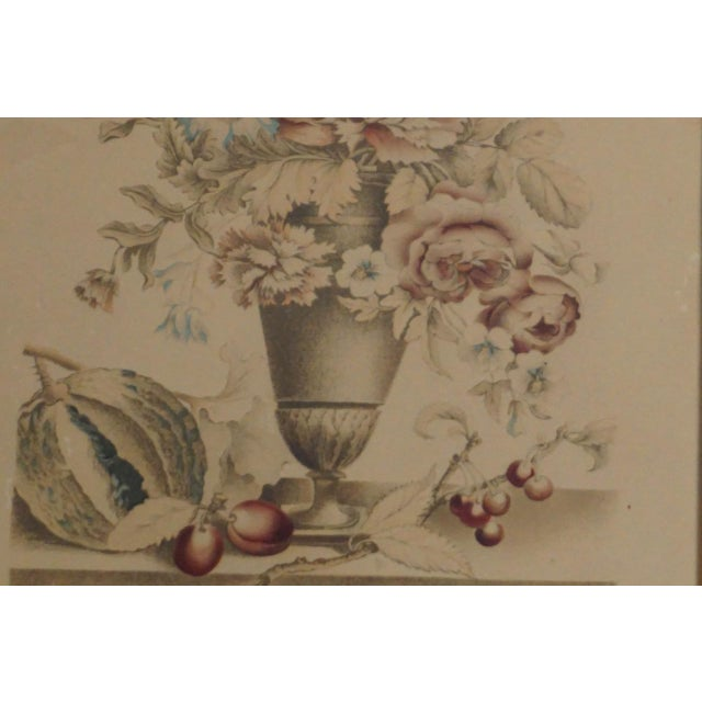 French 19th Century French Hand Colored Floral Etchings-A Pair For Sale - Image 3 of 12
