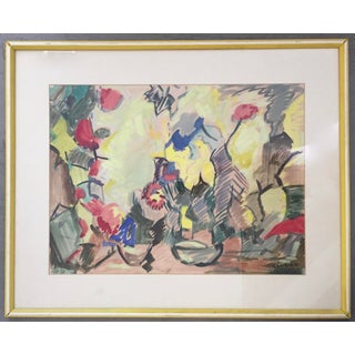 Mid-Century Abstract Watercolor Painting For Sale