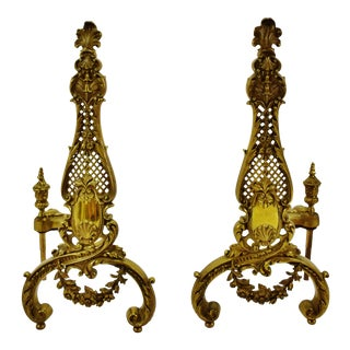 Vintage Ornate Brass Chenets Andirons Firedogs - a Pair For Sale