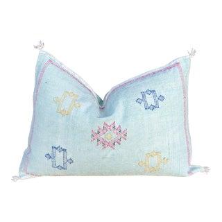 Zev Lumbar Moroccan Silk Rug Pillow For Sale