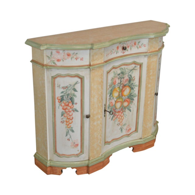 Italian Hand Painted Narrow Serpentine Console Cabinet For Sale - Image 13 of 13
