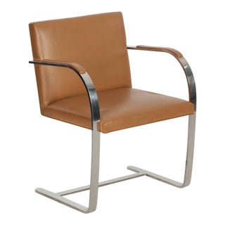 Mies van der Rohe for Knoll Leather and Steel BRNO Arm Chair