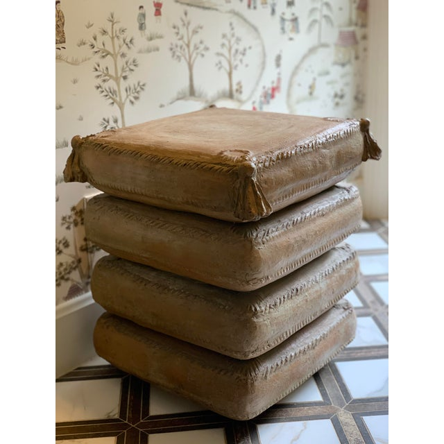 Vintage Italian Stacked Cushion Terracotta Garden Stool/Side Table For Sale - Image 12 of 13