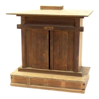 Early 20th Century Japanese Wooden Shrine With Ebisu For Sale