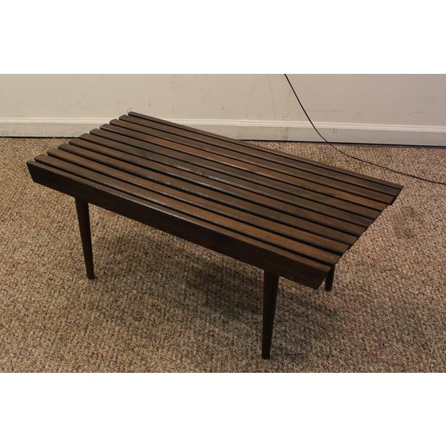 Mid Century Danish Modern Walnut Slat Bench/Coffee Table - Image 4 of 11
