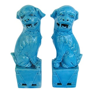 Chinese Turquoise Foo Dog - A Pair