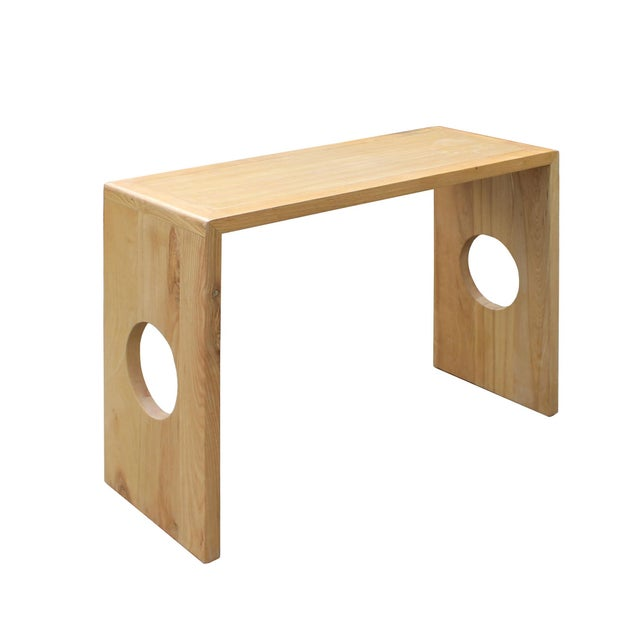 2010s Oriental Zen Unfinished Wood Slim Open Side Table For Sale - Image 5 of 8
