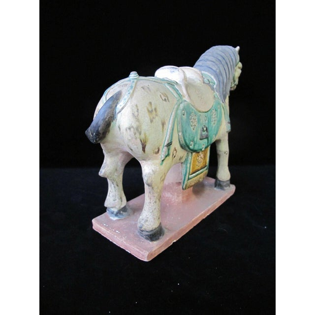 Green Early 20th Century Horse on Stand Chinese Green Sancai Glaze Terra Cotta Pottery Figurine For Sale - Image 8 of 11