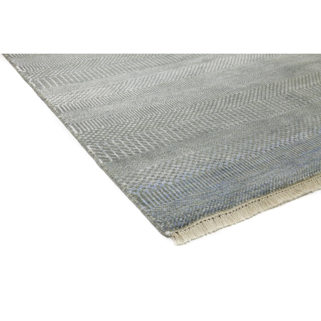 """Tonal Striped Hand Knotted Area Rug - 9'1"""" X 12'3"""" - Image 3 of 4"""