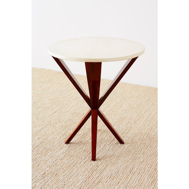 Art Deco Style Mahogany and Goatskin Vellum Drinks Table For Sale - Image 11 of 13