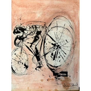 "1980s ""Cyclist"" Acrylic Painting on Paper Leon Collard For Sale"
