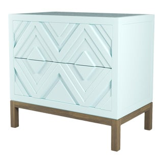 Susana Side Table - Ocean Air Blue, Weathered Gray Oak For Sale