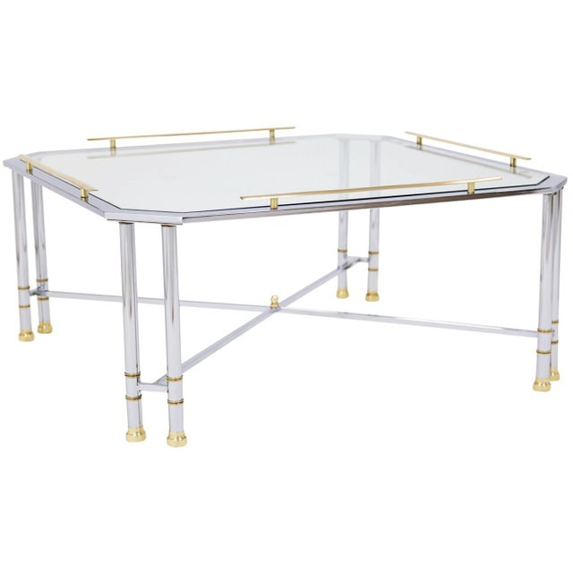 Chrome Brass & Glass Coffee Table For Sale - Image 9 of 10