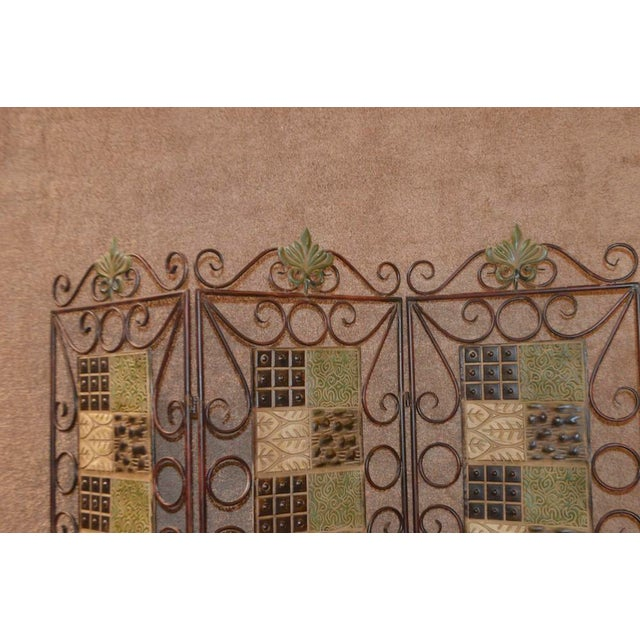 1980s Vintage 3-Panel Folding Screen For Sale - Image 9 of 13