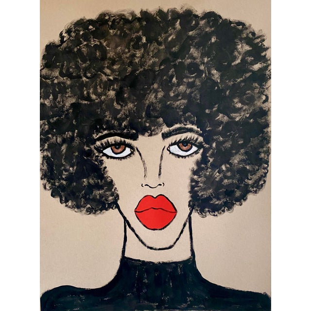 Expressionism Contemporary Red Lips Painting For Sale - Image 3 of 3