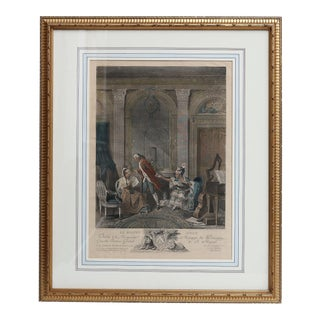 19th Century Framed Colored Engraving For Sale