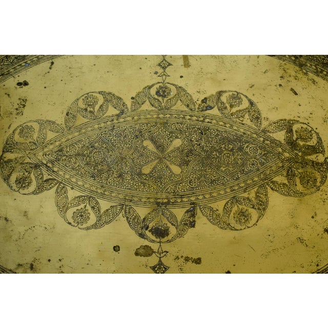 Gold 20th Century Moroccan Brass Tray and Teak Spider Leg Table For Sale - Image 8 of 13