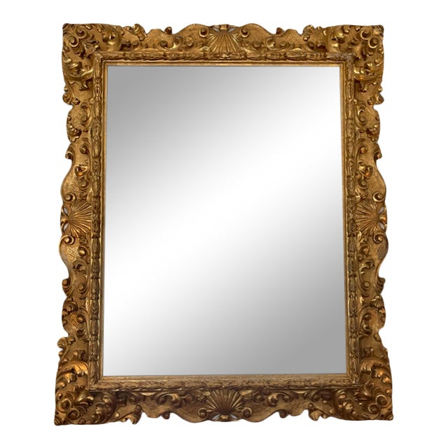 Italian Gold Gilded Mirror For Sale