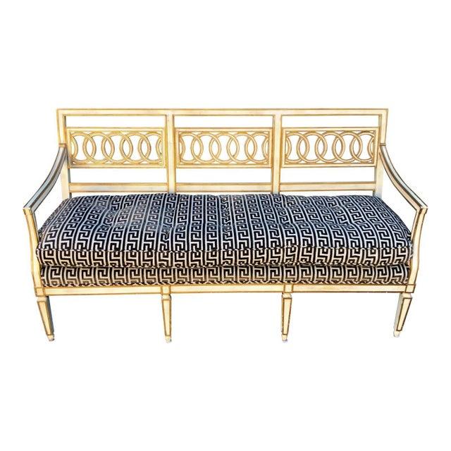 Vintage Hollywood Regency Style Sofa Settee W Greek Key Cut Velvet Upholstery
