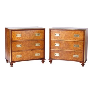 Midcentury Campaign Style Baker Chests - A Pair For Sale