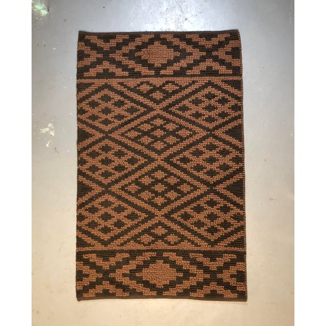 Heavy Knit Brown and Tan Geometric Rug For Sale - Image 13 of 13