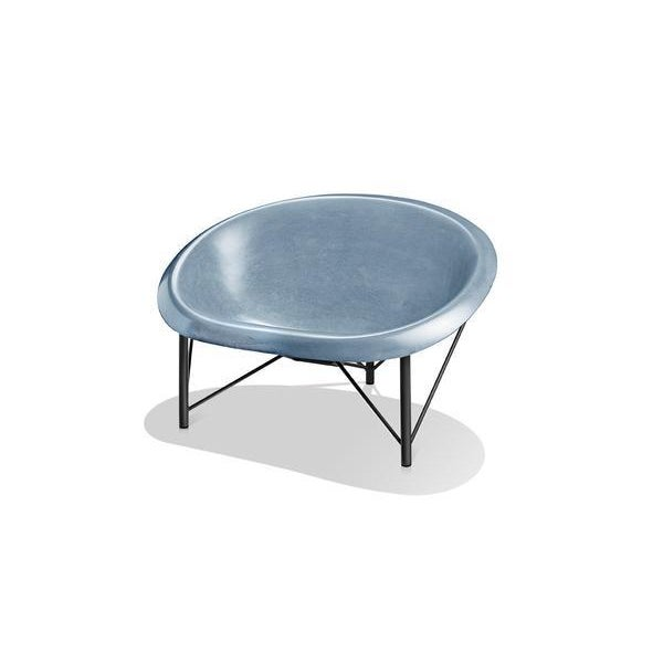 Mid-Century Modern Heated Indoor/Outdoor Helios Chair in Gunmetal & Ocean For Sale - Image 3 of 3