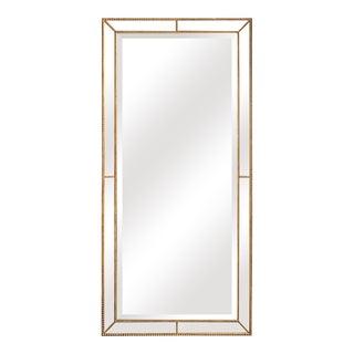 Roxeburghe Beveled Beaded Gold Full Length Floor Mirror For Sale