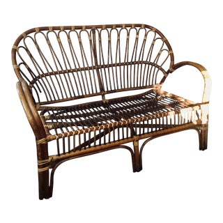 1970s Vintage Franco Albini Style Rattan Love Seat For Sale