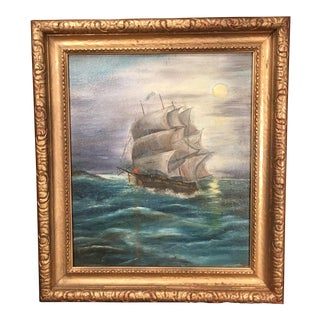 19th Century Antique Sailboat at Night Oil on Canvas Nautical Painting For Sale