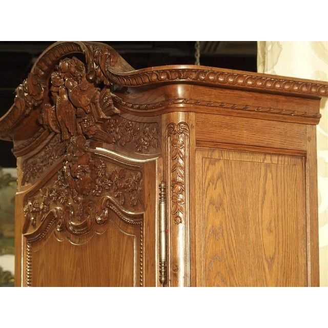 Carved Oak Wedding Cabinet and Chest of Drawers From Normandy, Early 1900s For Sale - Image 9 of 13
