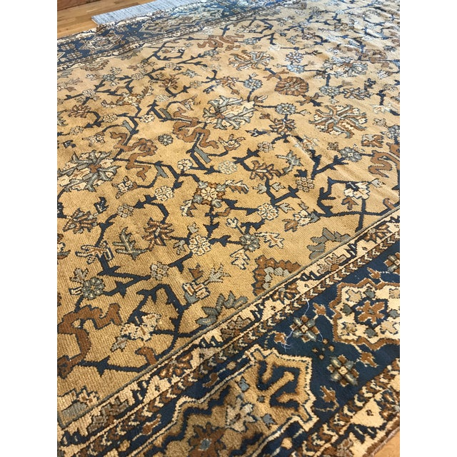 Late 19th Century Antique Blue & Tan Turkish Rug - 8′10″ × 11′7″ For Sale - Image 5 of 12