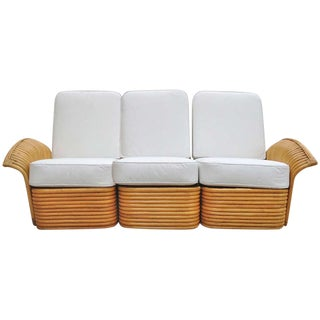 Art Deco Rattan Fan Arm 3 Seat Sofa
