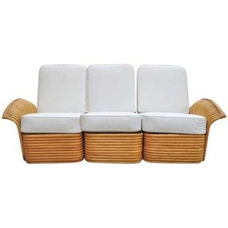 Art Deco Rattan Fan Arm 3 Seat Sofa For Sale