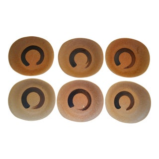 Japanese Chinese Asian Ceramic Stoneware Enso Salad Plates - Set of 6 For Sale