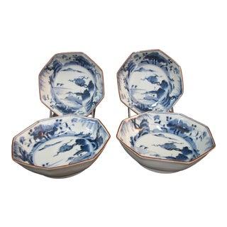 """Asian Cobalt Blue & White Porcelain Octagonal Bowls 5 3/4"""" - Set of 4 For Sale"""