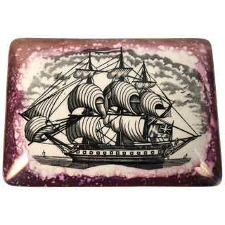Staffordshire Sunderland Lustreware Porcelain Box With Sailor and Ship Theme For Sale