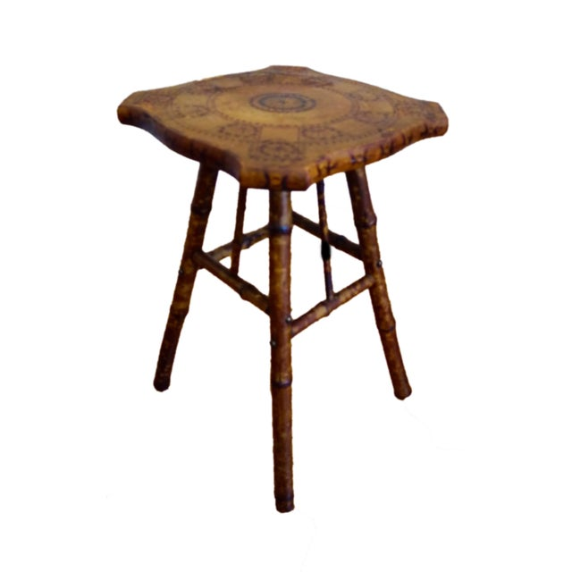 Antique Victorian Scorched Bamboo Side Table - Image 1 of 4