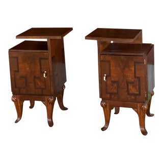 "Fabulous Mid-Century Art Deco Antique ""Inlaid"" Rosewood, Walnut, Ebony & Burl King Size Headboard and Matching Night Stands For Sale"