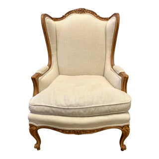 Antique French Louis XV Style Carved Wingback Chair For Sale