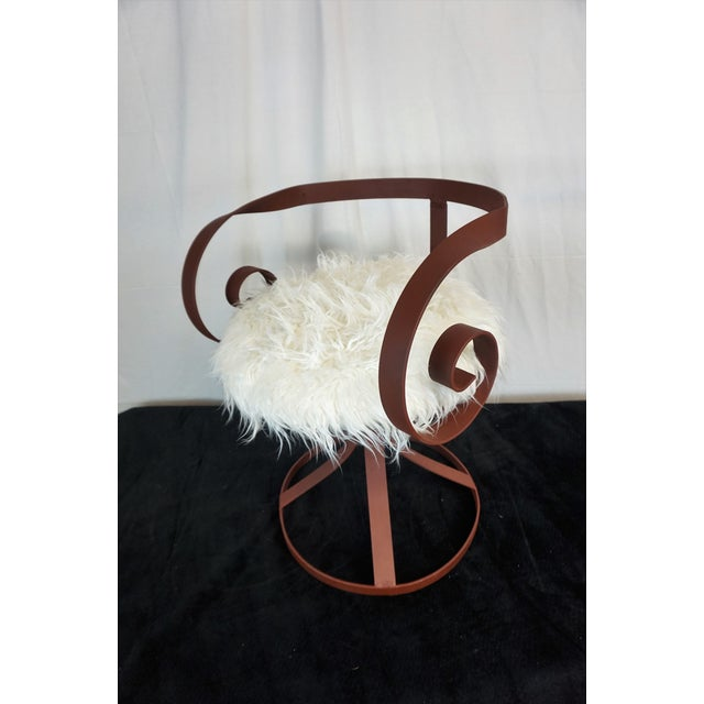Sultana Style Metal & Faux Fur Chairs - A Pair For Sale - Image 10 of 10