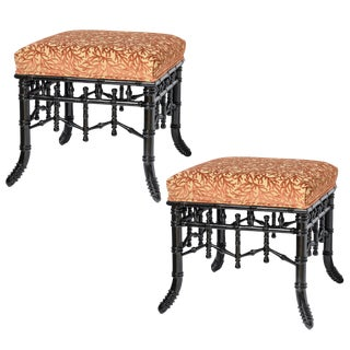 Chinoiserie Black Faux Bamboo Wood Ottomans With Coral Velvet Motif, A-Pair For Sale