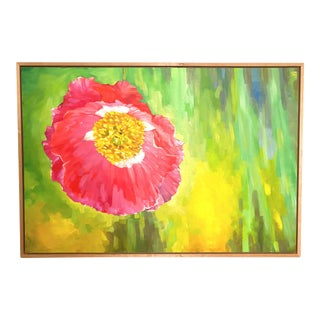"""""""Spring Pink Poppy"""" Contemporary Botanical Abstract Painting, Framed For Sale"""