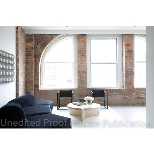 Modern Modern Limestone and Wood Coffee Table For Sale - Image 3 of 7