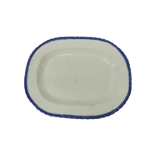 Antique Blue & White Ironstone English Platter - Image 1 of 5