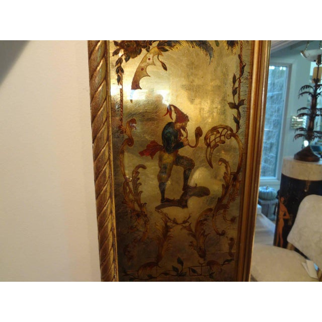 French Vintage French Maison Jansen Style Chinioserie Eglomise Mirror For Sale - Image 3 of 9