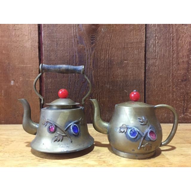 Vintage Brass Jeweled Tea Pots - A Pair - Image 2 of 9