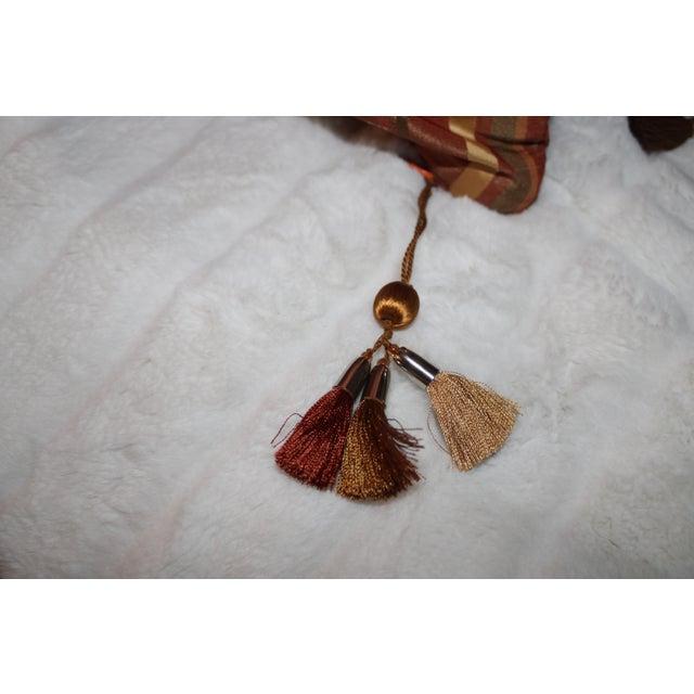 Boho Chic Boho Chic Golden/Copper Taffeta Pillows - a Pair For Sale - Image 3 of 5